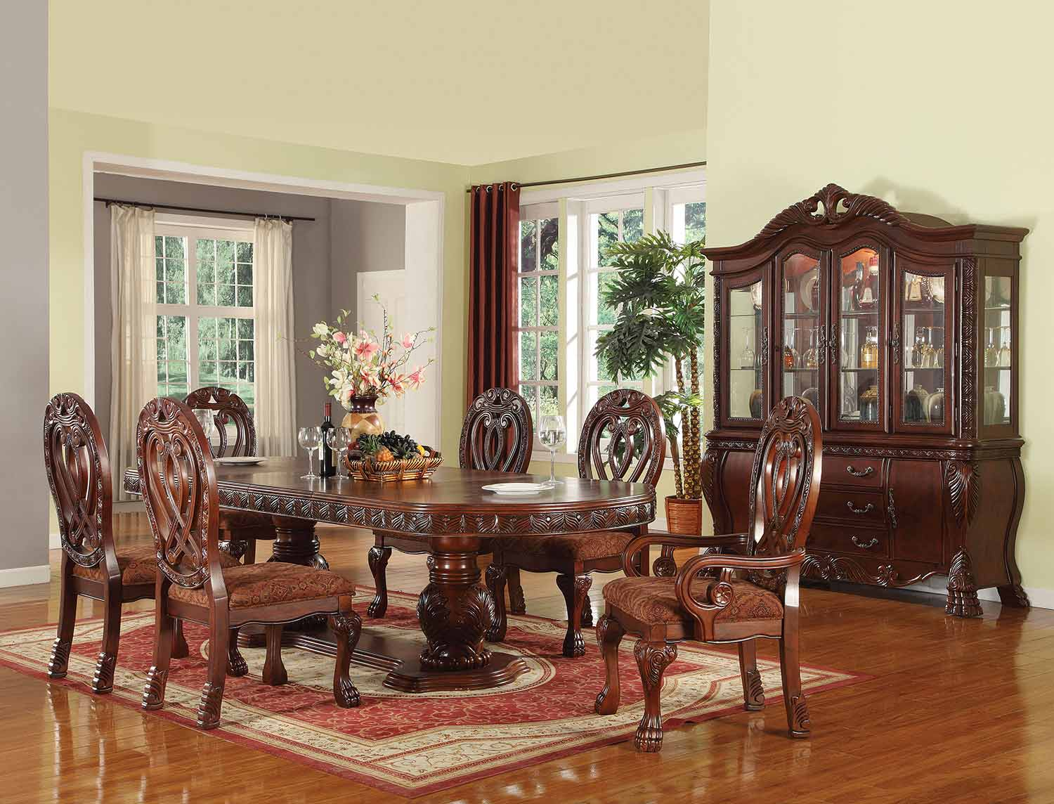 Acme Quinlan Dining Set with Double Pedestal - Cherry