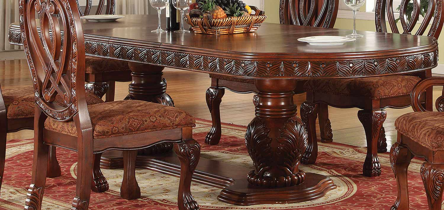Acme Quinlan Dining Table with Double Pedestal - Cherry