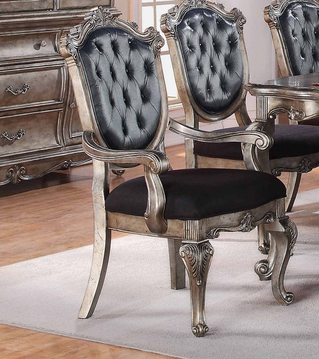 Acme Chantelle Arm Chair - Silver Gray Silk-Like Fabric/Antique Platinum