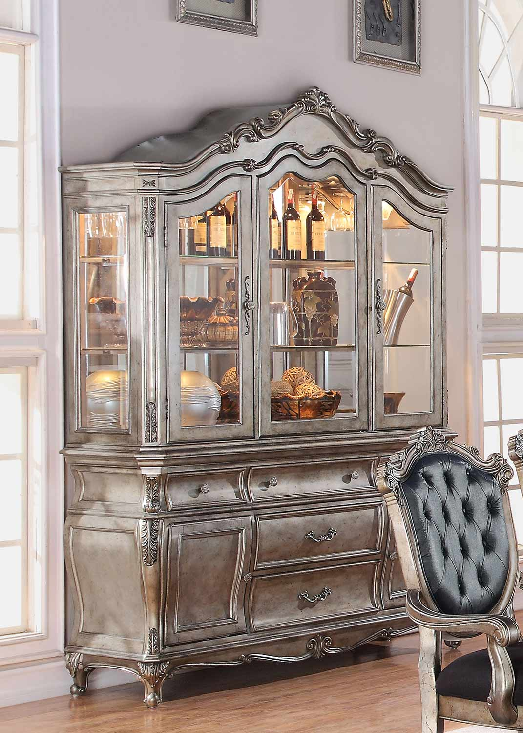 Acme Chantelle Hutch and Buffet - Antique Platinum