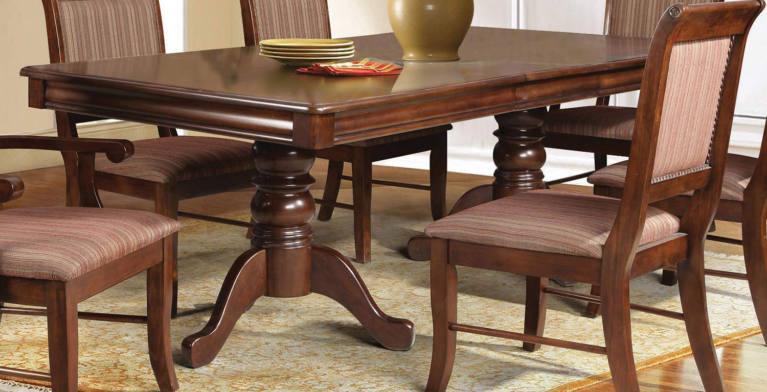 Acme Mahavira Dining Table with Double Pedestal - Espresso