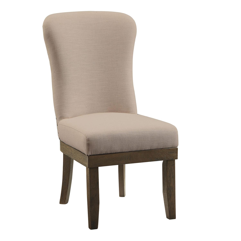 Acme Landon Side Chair - Beige Linen/Salvage Brown