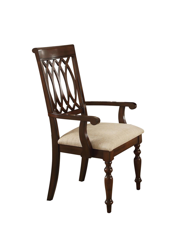 Acme Farrel Arm Chair - Sand Linen/Walnut
