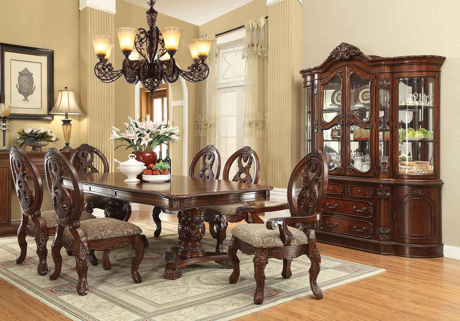 Acme Rovledo Dining Set with Double Pedestal - Cherry