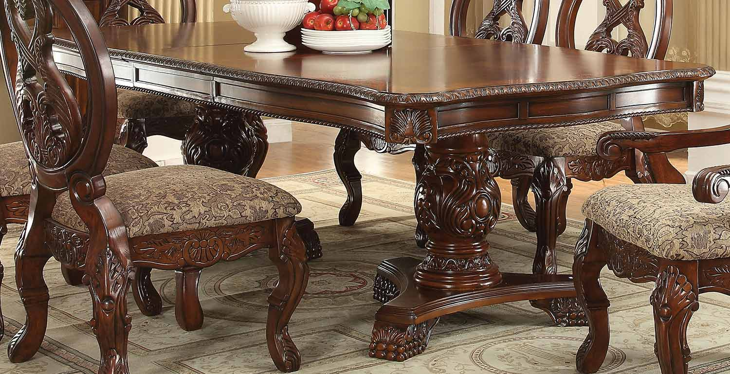 Acme Rovledo Dining Table with Double Pedestal - Cherry
