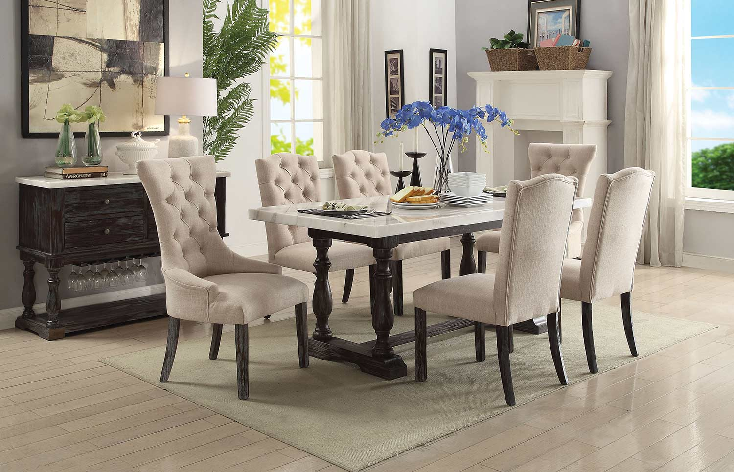 Acme Gerardo Dining Set - White Marble/Weathered Espresso
