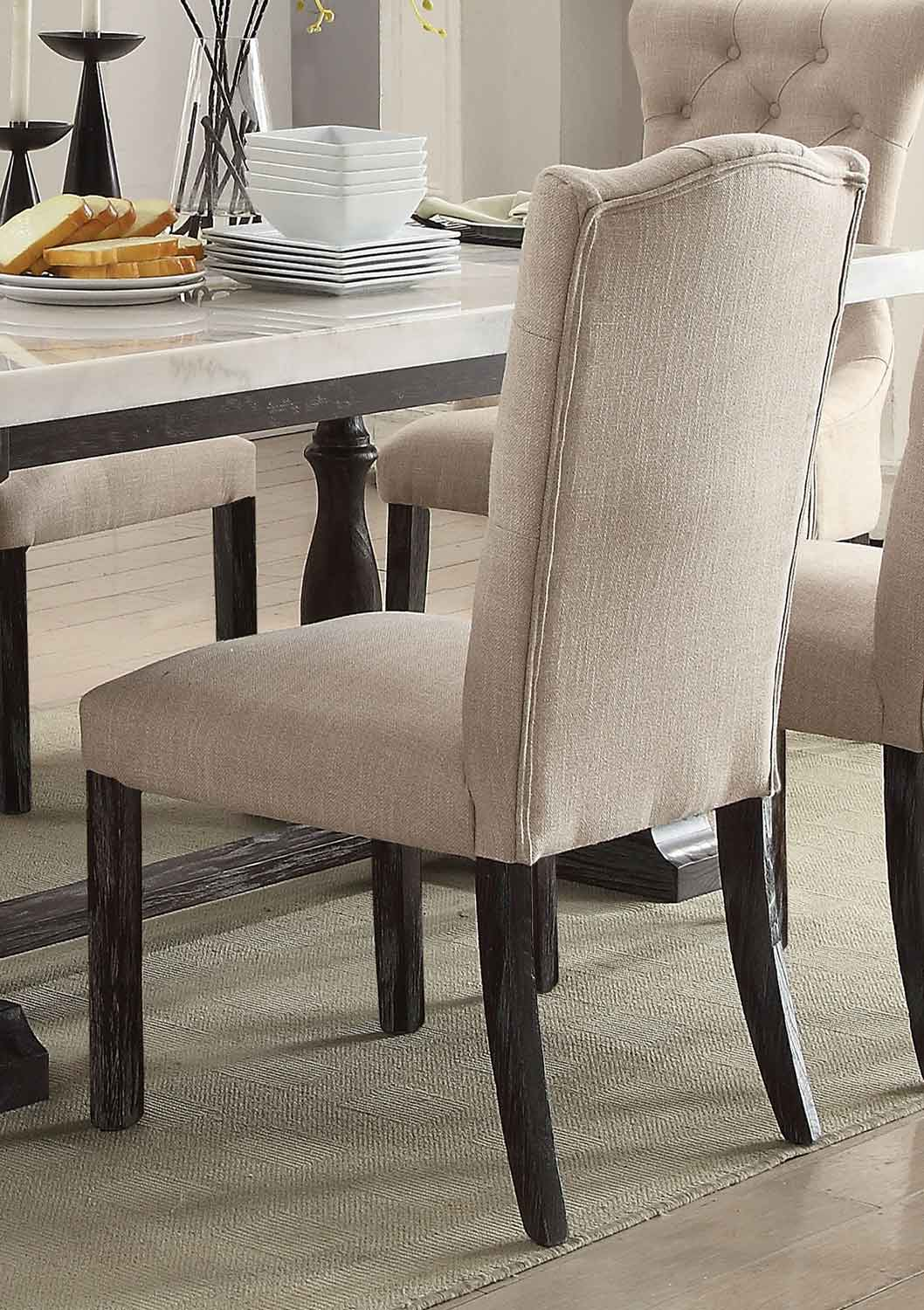 Acme Gerardo Side Chair - Beige Linen/Weathered Espresso