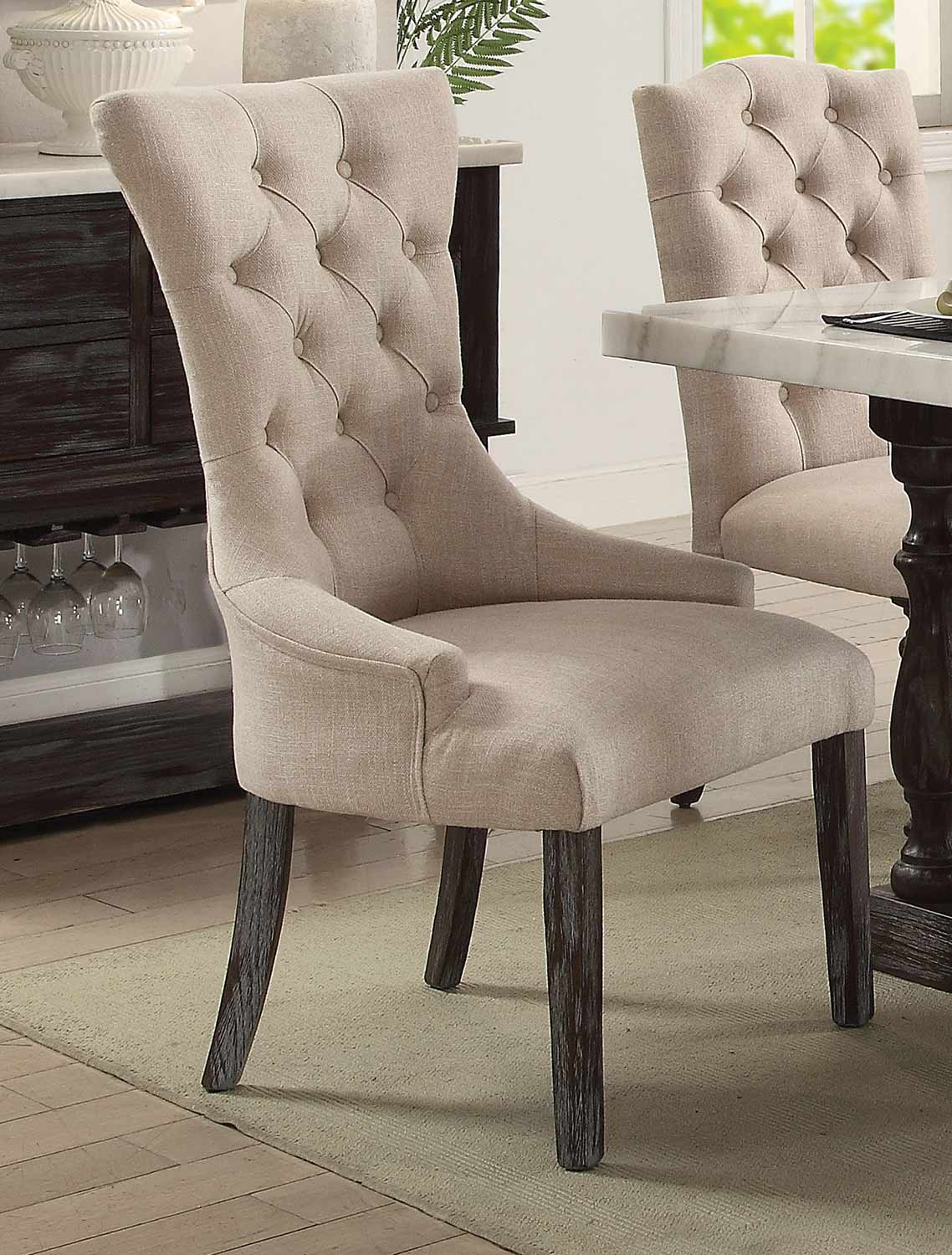 Acme Gerardo Arm Chair - Beige Linen/Weathered Espresso