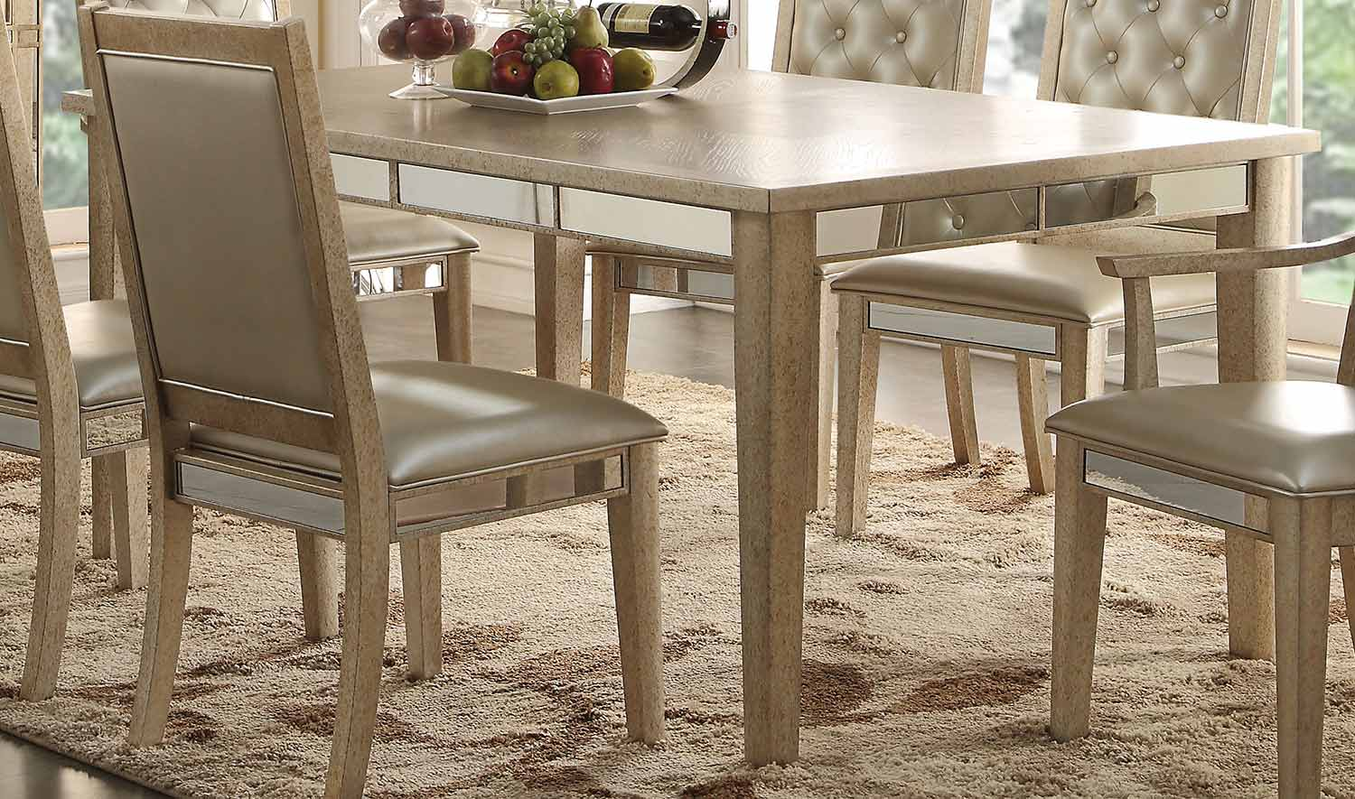 Acme Voeville Dining Table - Antique Gold