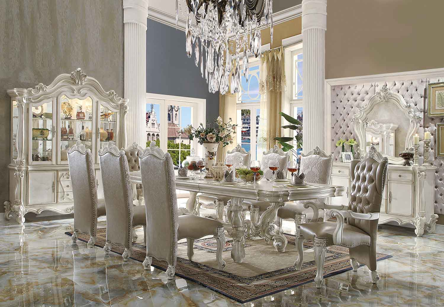 Acme Versailles Dining Set (120L Table) - Bone White