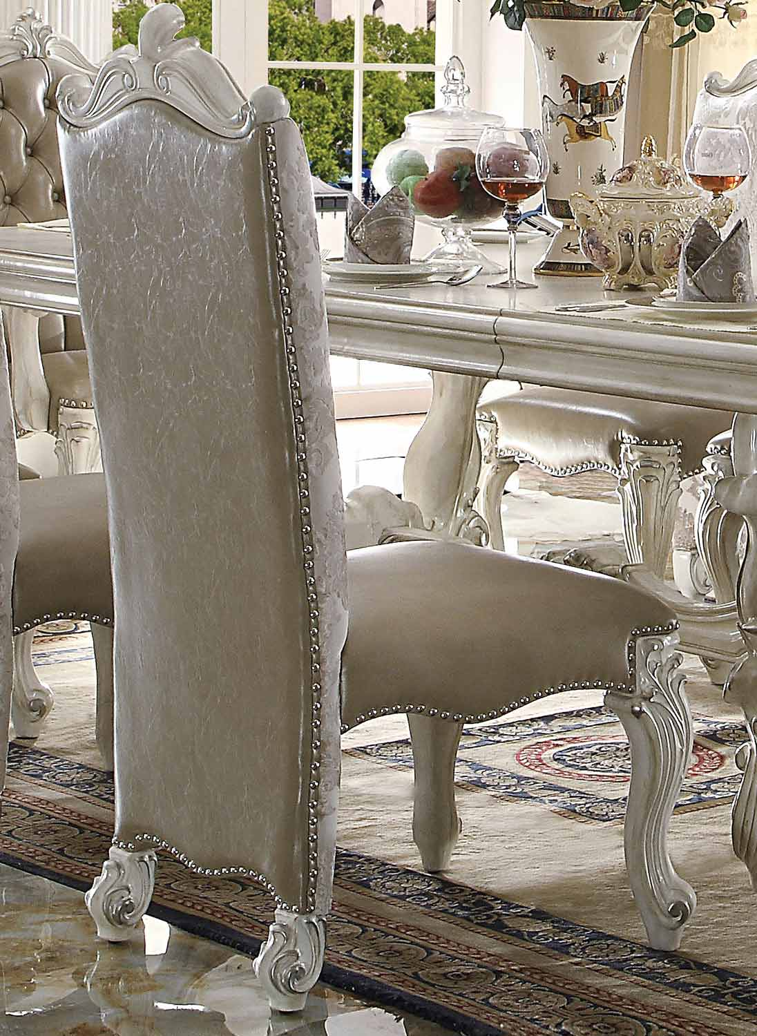 Acme Versailles Side Chair - Vintage Gray Vinyl/Bone White