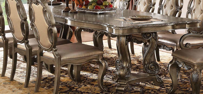 Acme Ragenardus Dining Table with Double Pedestal - Vintage Oak