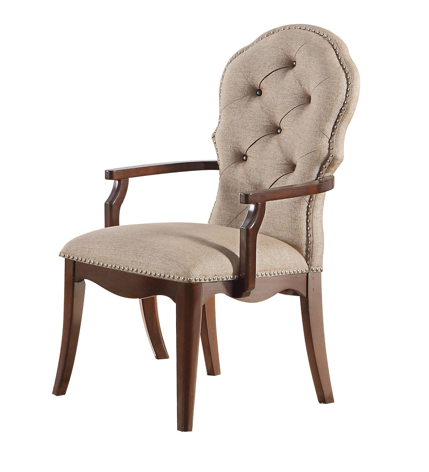 Acme Mathias Arm Chair - Beige Fabric/Walnut