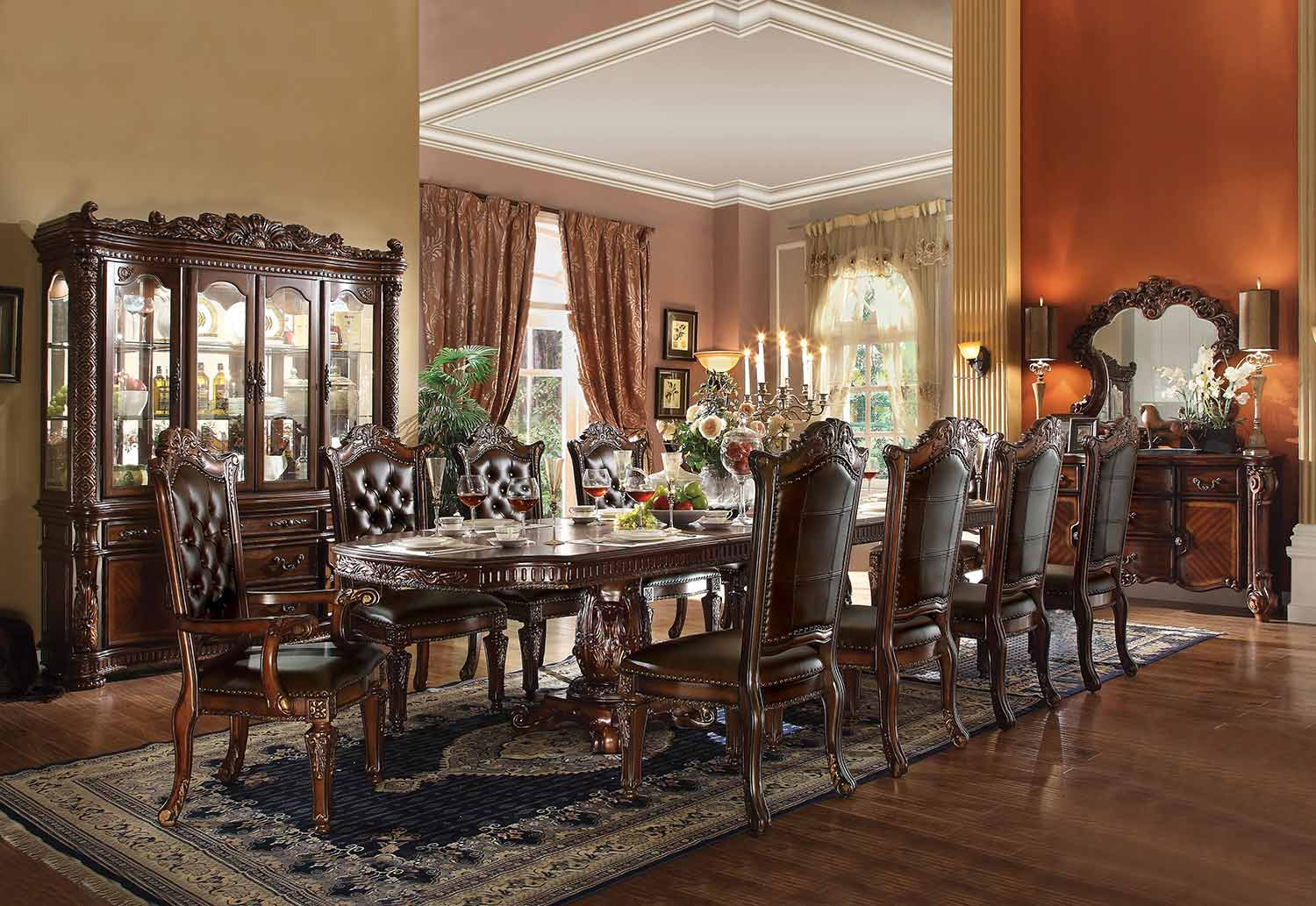 Acme Vendome Dining Set with Double Pedestal (136L Table) - Cherry