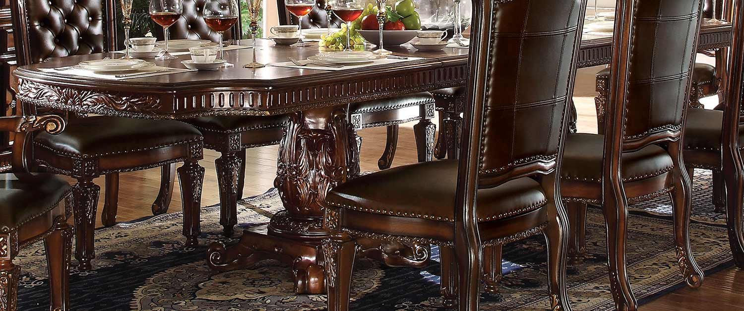 Acme Vendome Dining Table with Double Pedestal (136L) - Cherry
