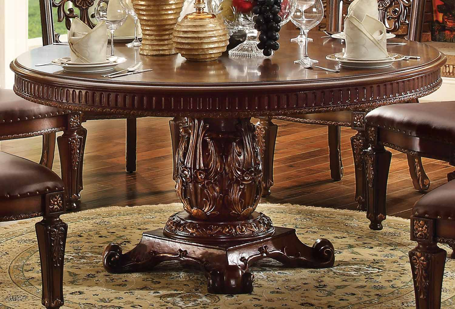 Acme Vendome Dining Table with Pedestal (60Dia) - Cherry