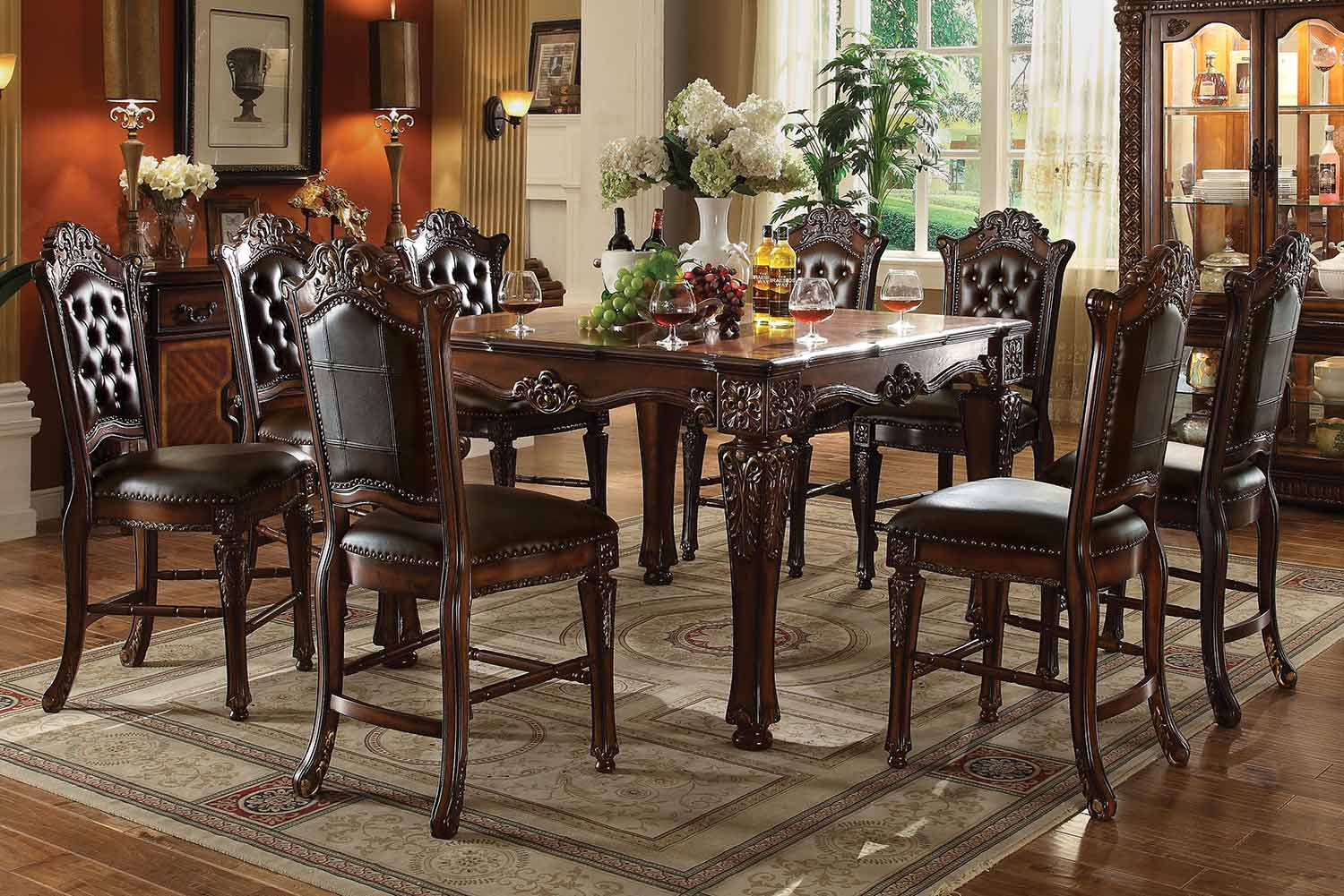 Acme Vendome Counter Height Dining Set - Cherry