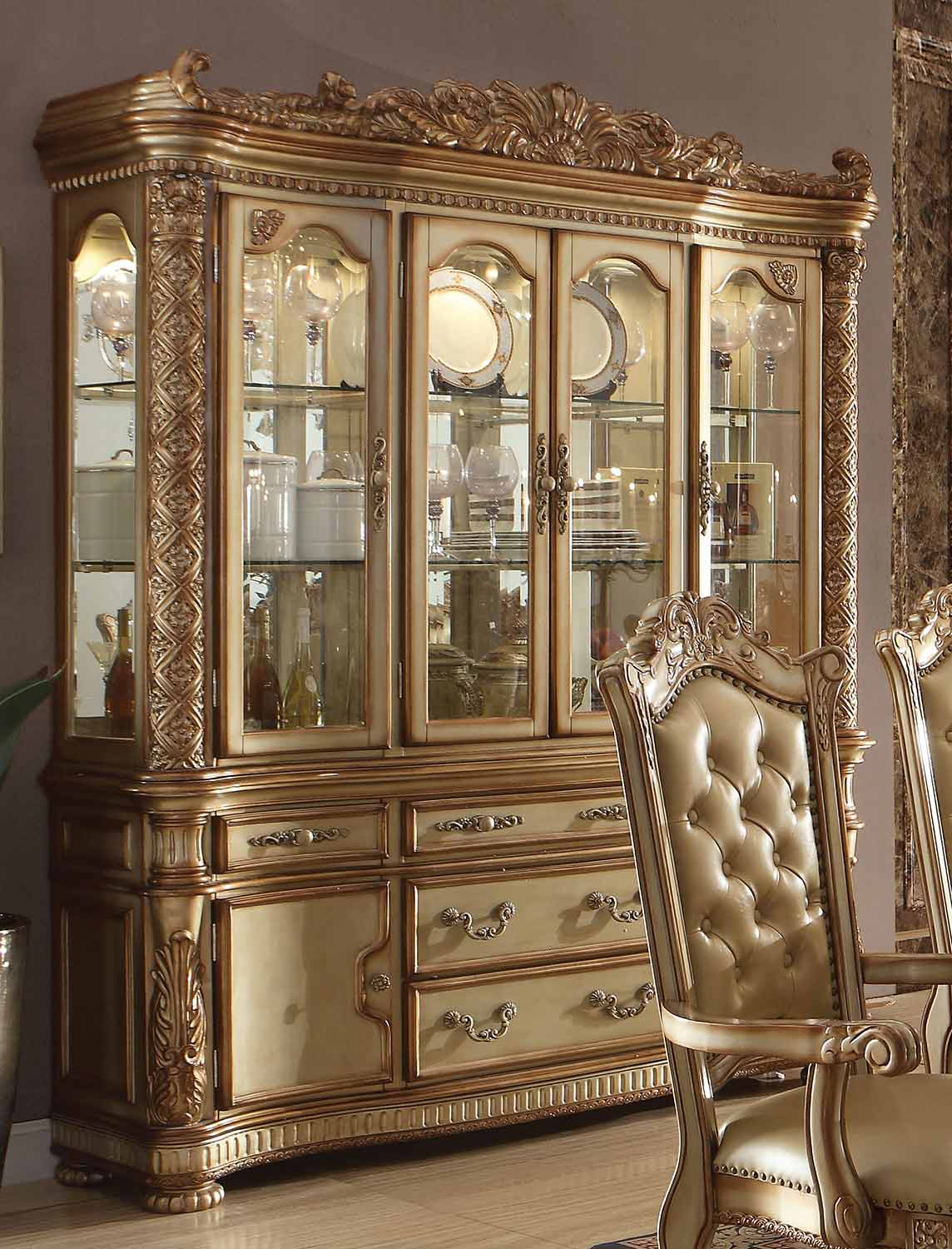 Acme Vendome Hutch and Buffet - Gold Patina/Bone