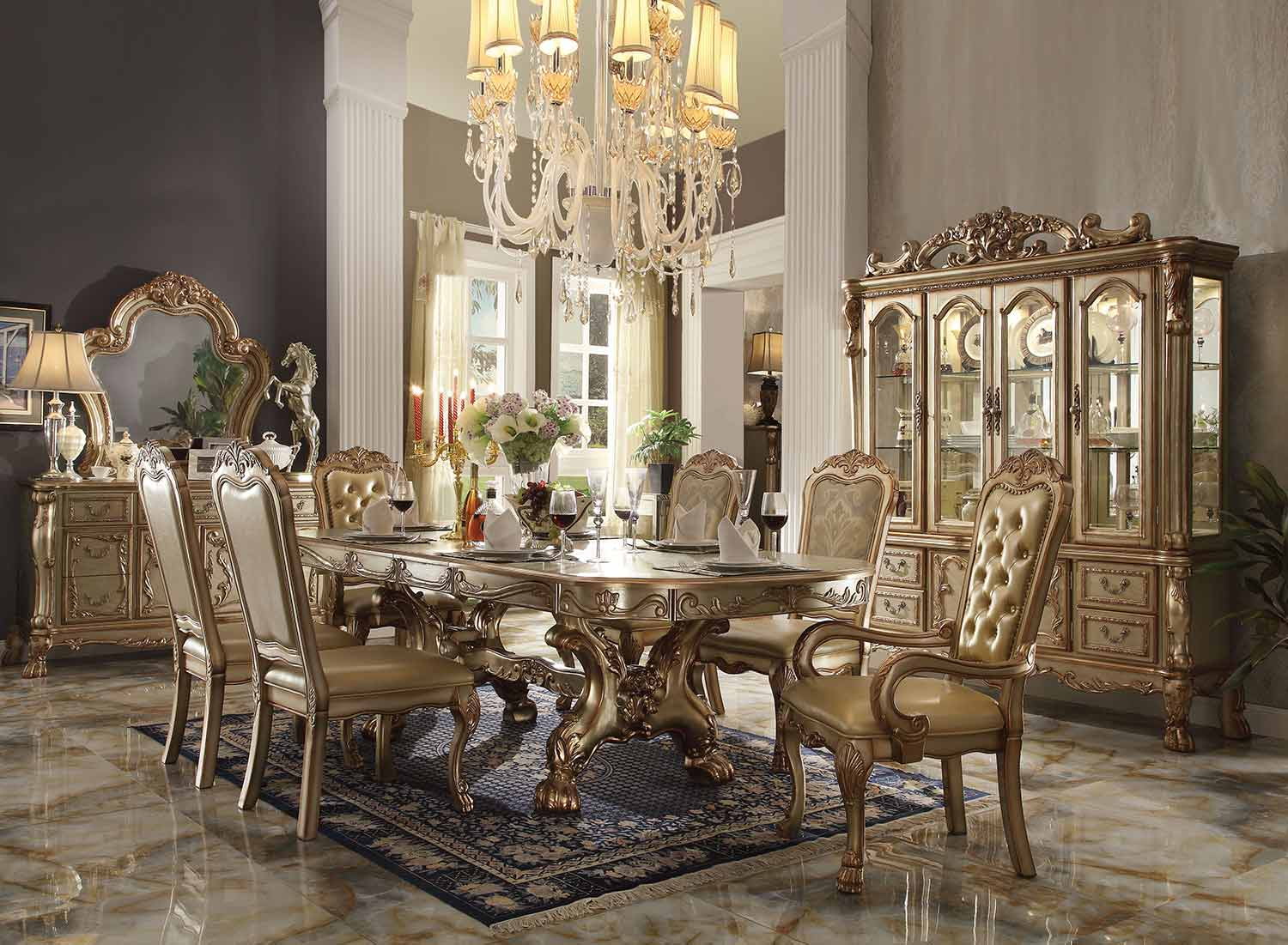 Acme Dresden Dining Set with Trestle Pedestal - Gold Patina/Bone