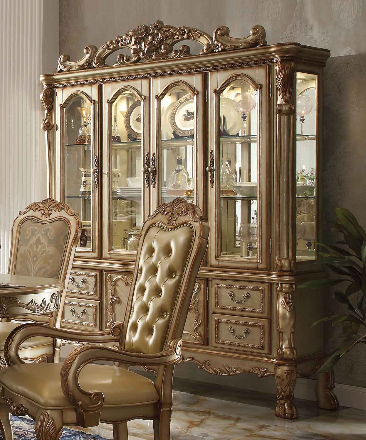 Acme Dresden Hutch and Buffet - Gold Patina/Bone