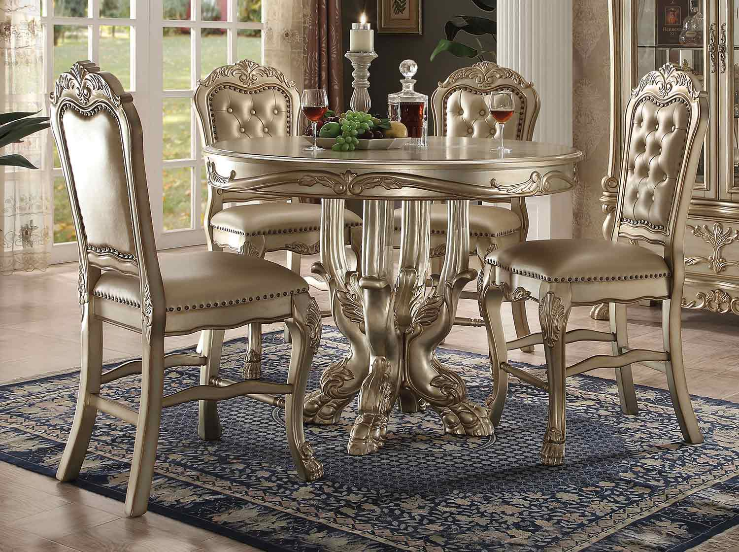 Acme Dresden Counter Height Dining Set - Gold Patina/Bone
