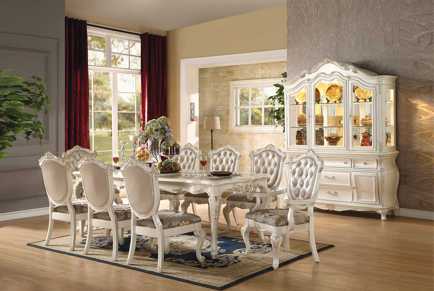 Acme Chantelle Dining Set - Marble/Pearl White