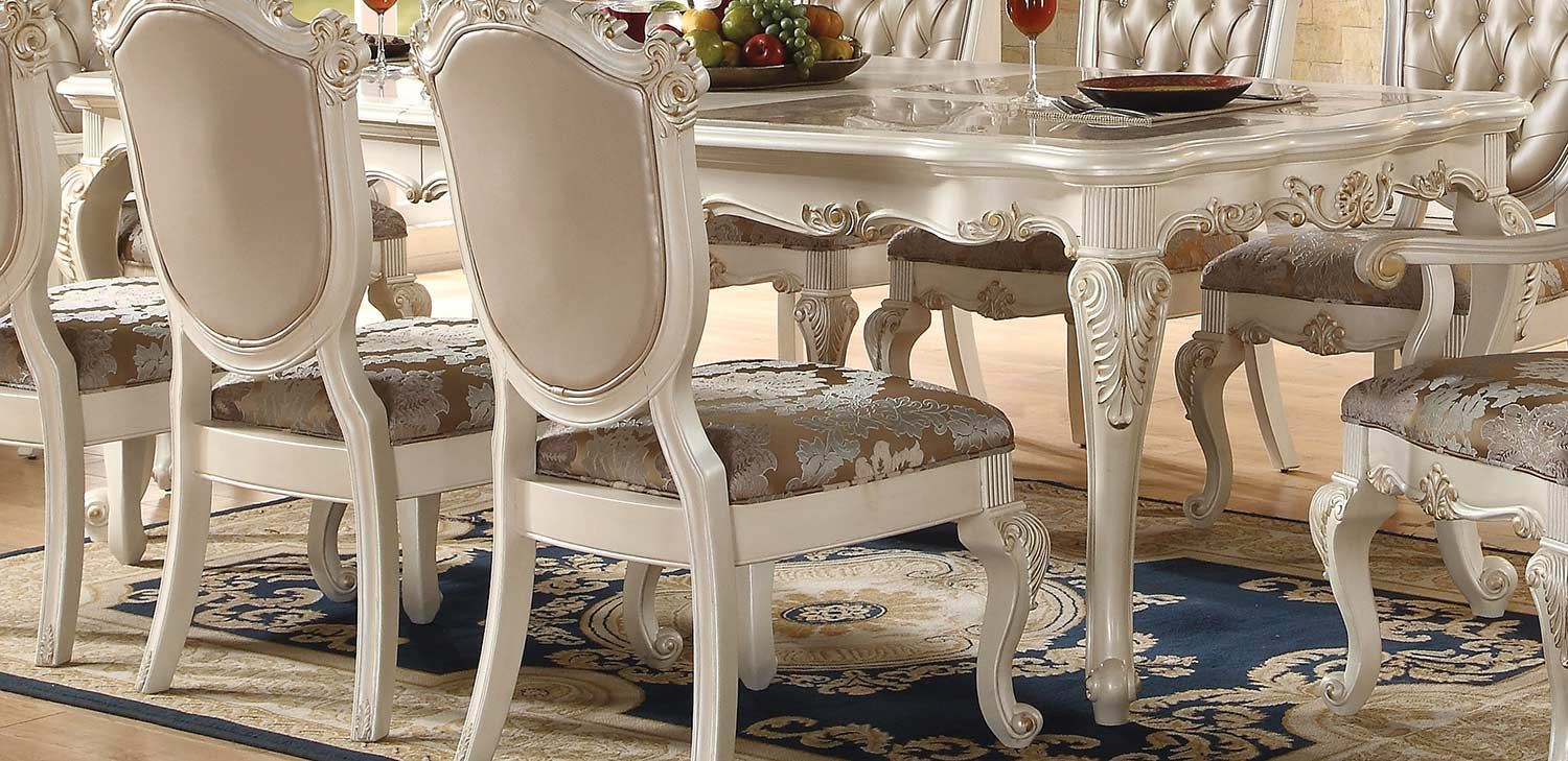 Acme Chantelle Dining Table - Marble/Pearl White