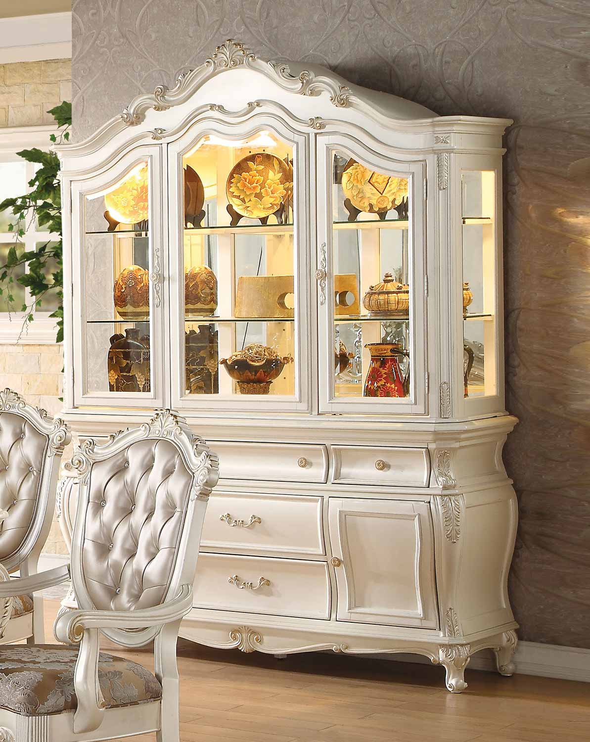 Acme Chantelle Hutch and Buffet - Pearl White