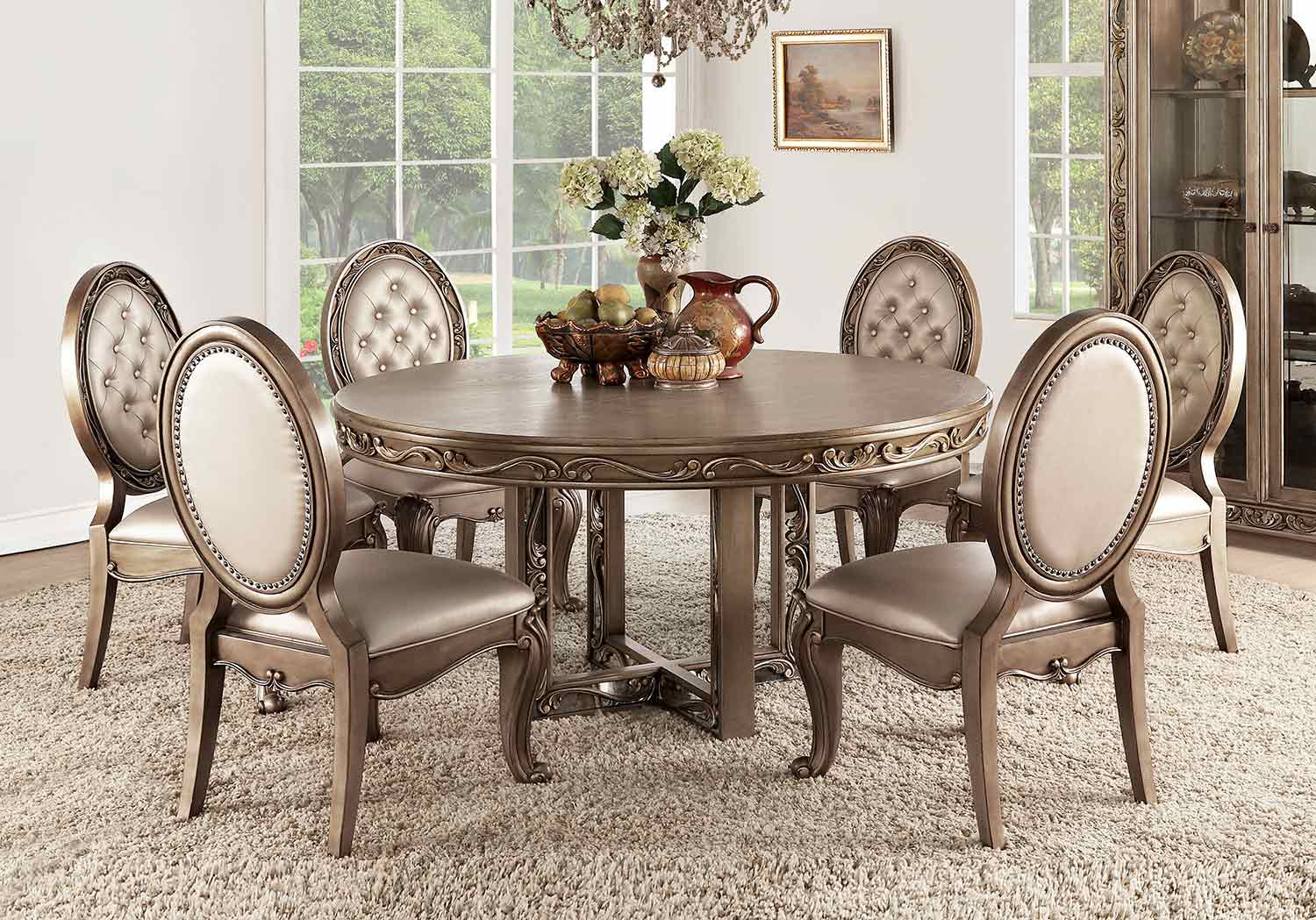 Acme Orianne Round Dining Set - Antique Gold