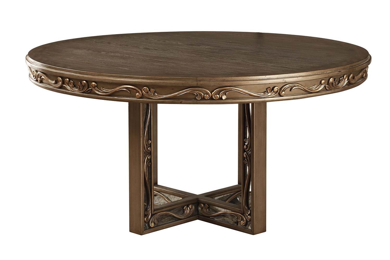Acme Orianne Round Dining Table - Antique Gold