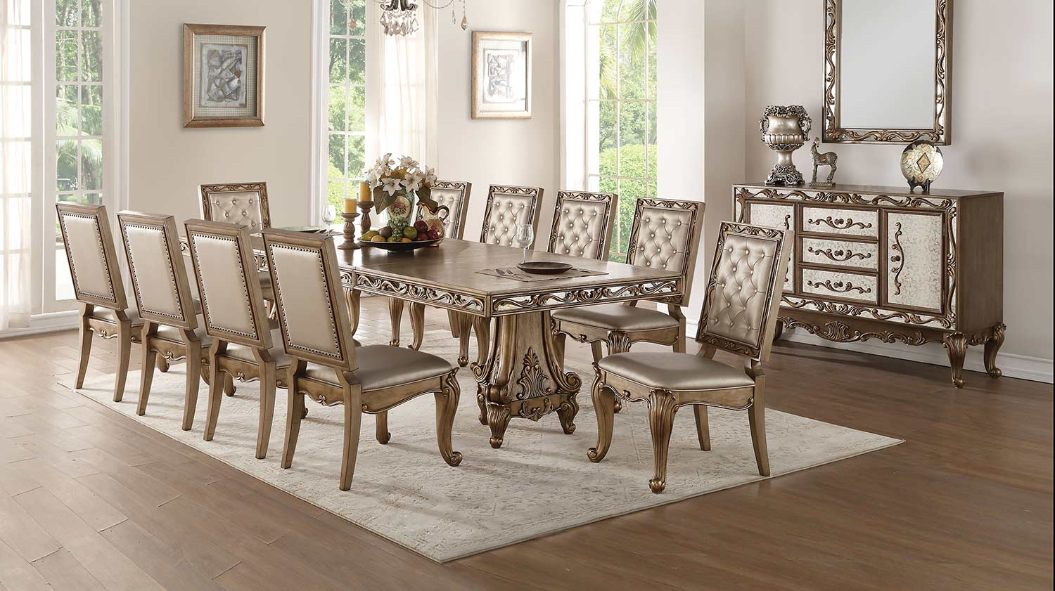 Acme Orianne Dining Set with Double Pedestal - Antique Gold