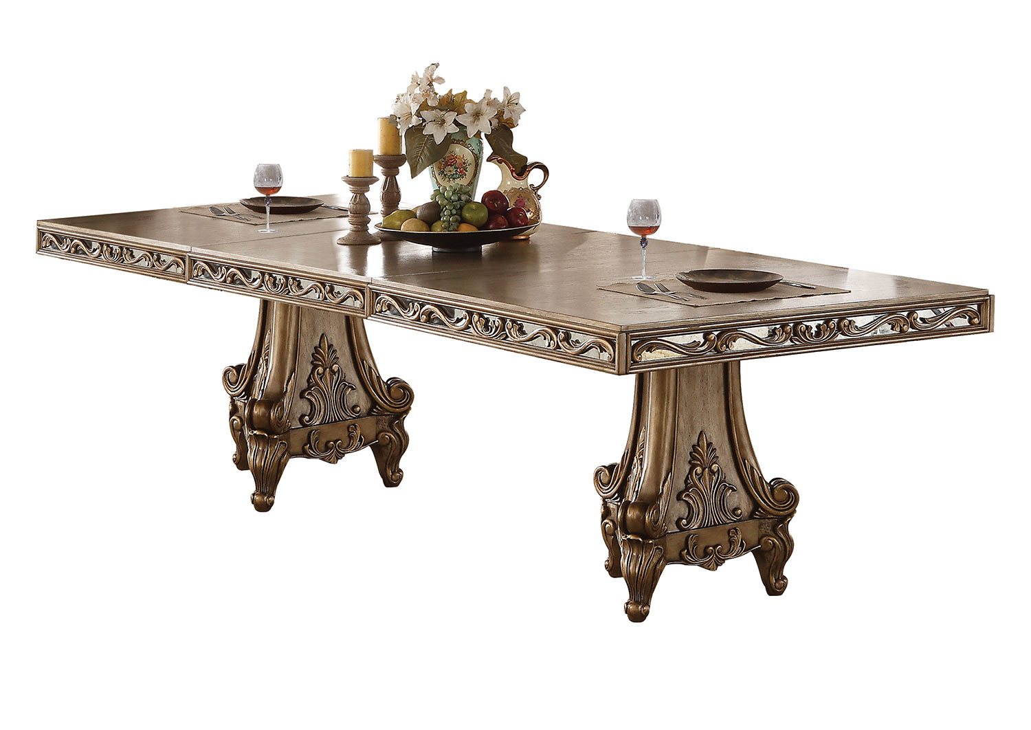 Acme Orianne Dining Table with Double Pedestal - Antique Gold