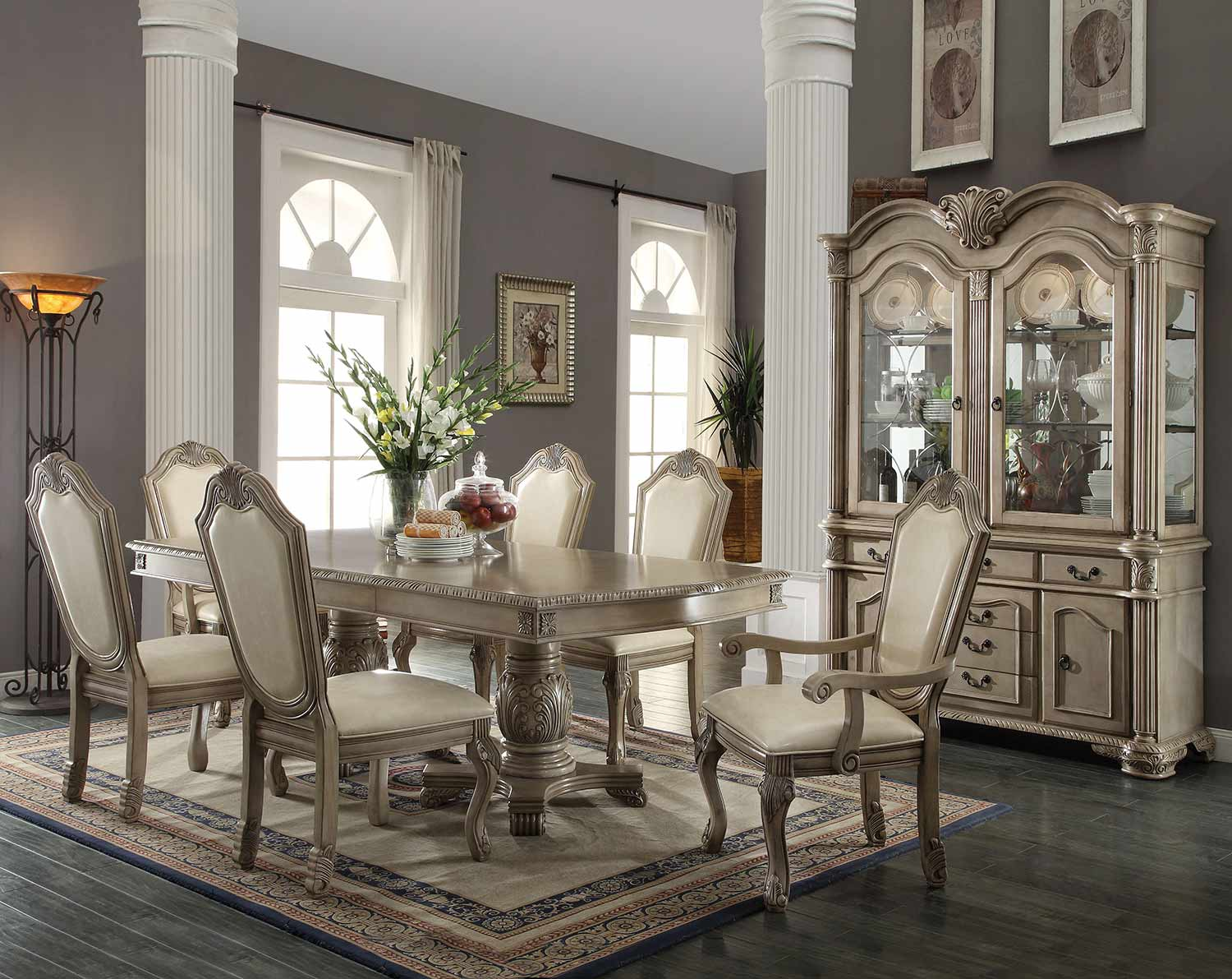 Acme Chateau de Ville Dining Set with Double Pedestal - Antique White