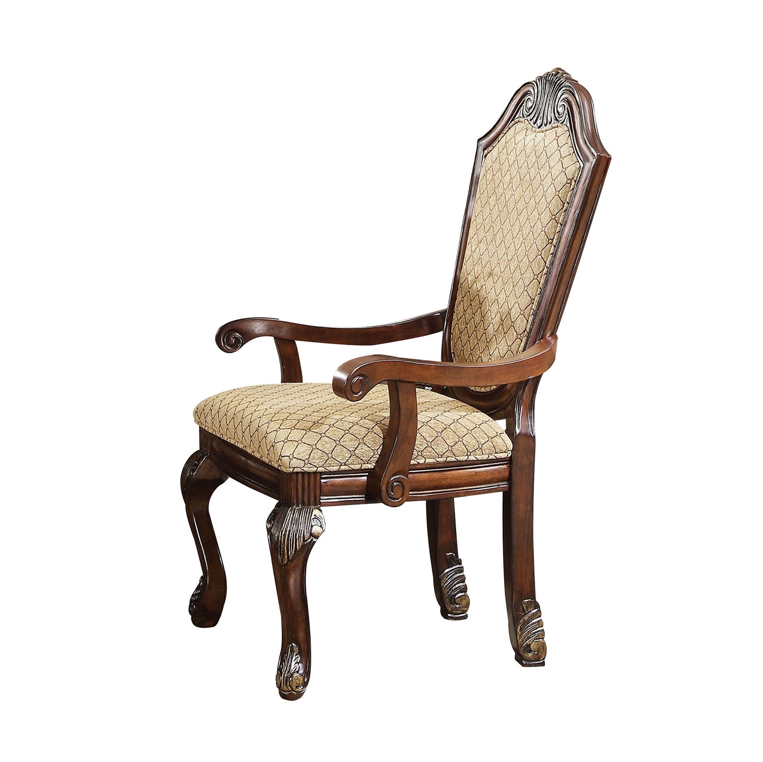 Acme Chateau De Ville Arm Chair - Fabric/Espresso