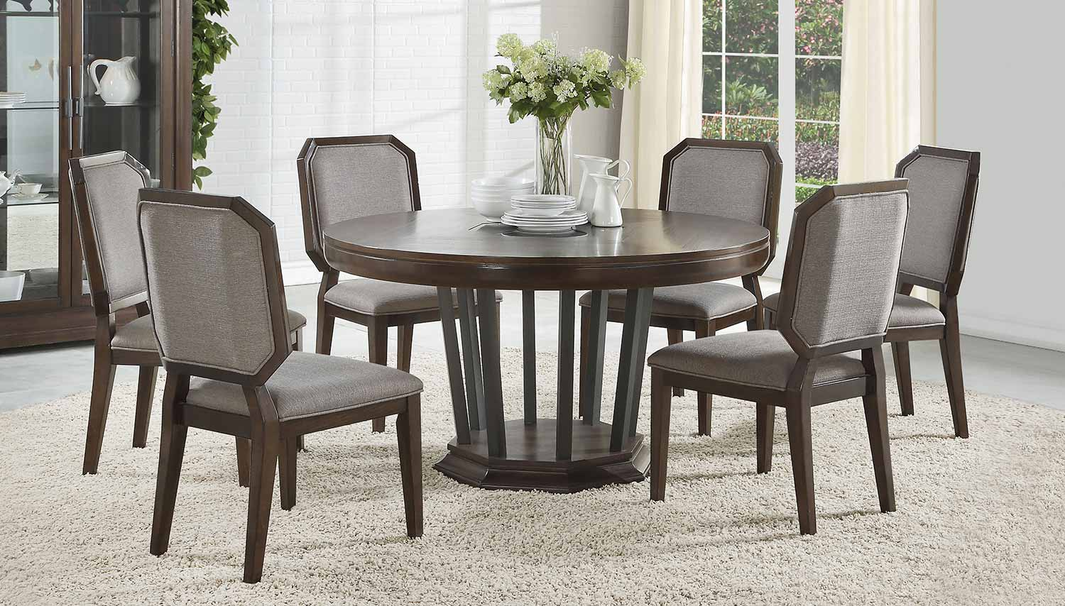 Acme Selma Round Dining Set with Single Pedestal - Tobacco