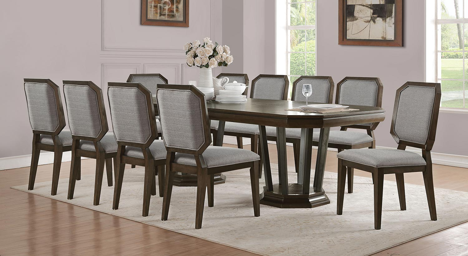 Acme Selma Dining Set with Double Pedestal - Tobacco