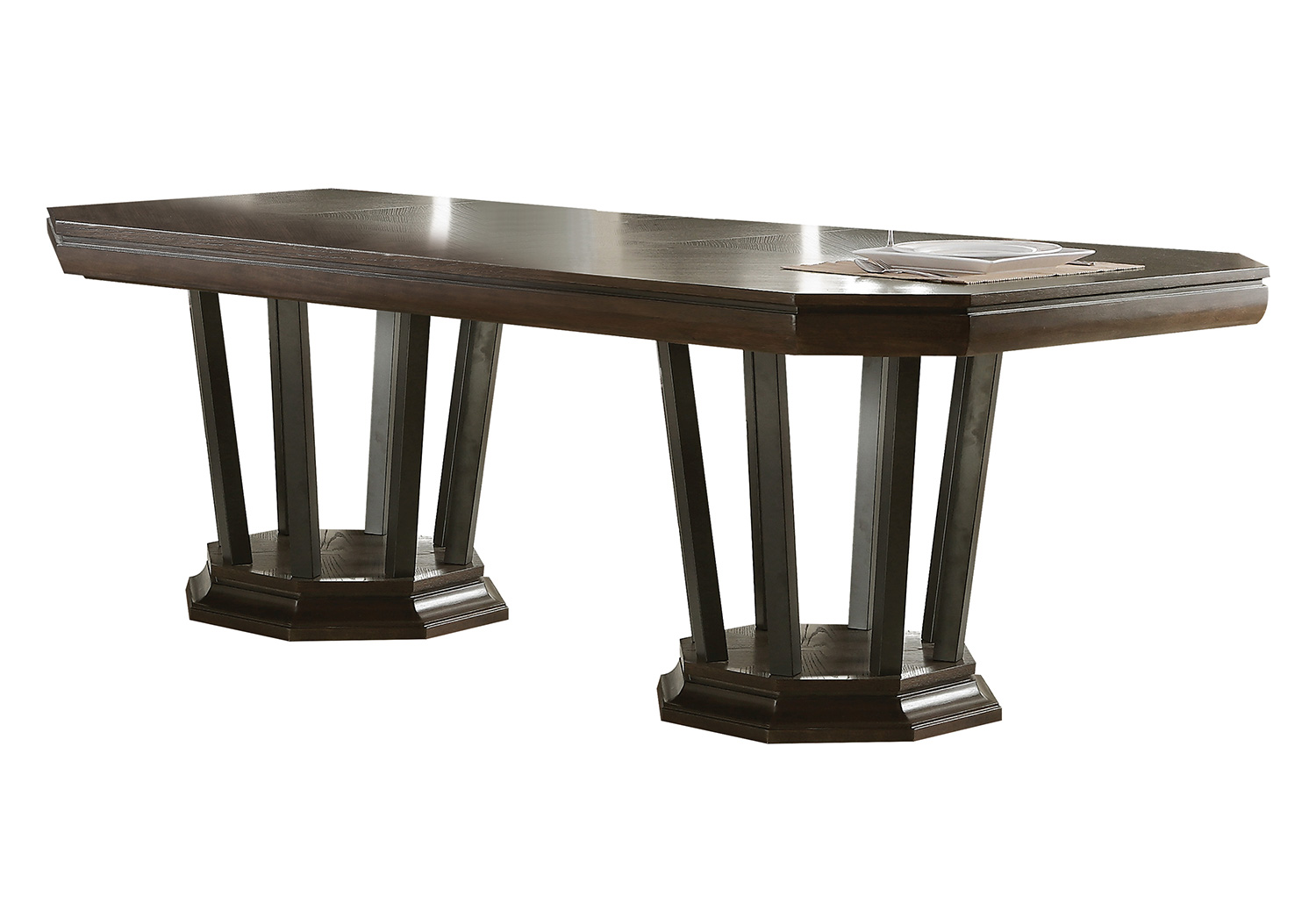 Acme Selma Dining Table with Double Pedestal - Tobacco