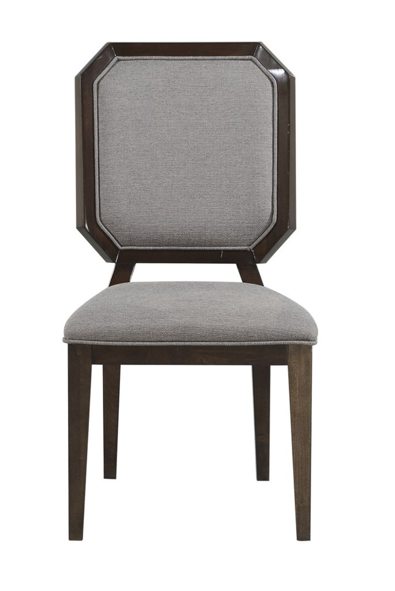 Acme Selma Side Chair - Gray Fabric/Tobacco
