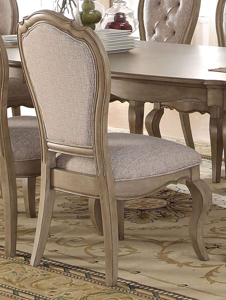 Acme Chelmsford Side Chair - Beige Fabric/Antique Taupe