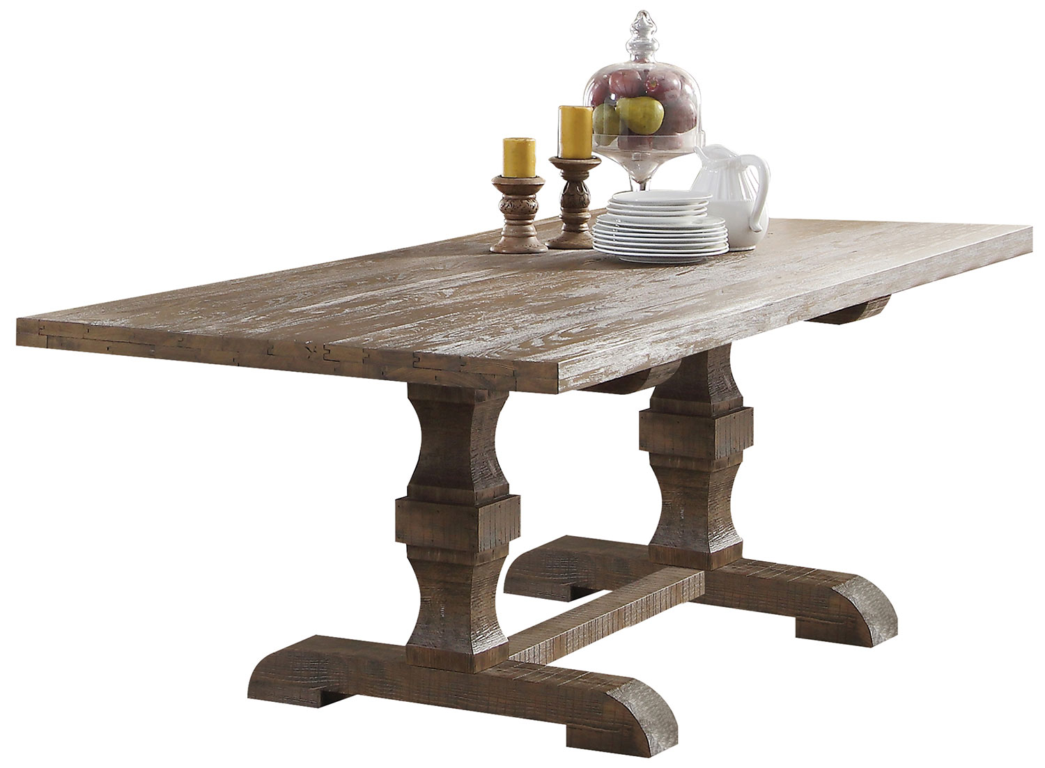 Acme Inverness (Parker) Dining Table with Double Pedestal - Salvage Oak