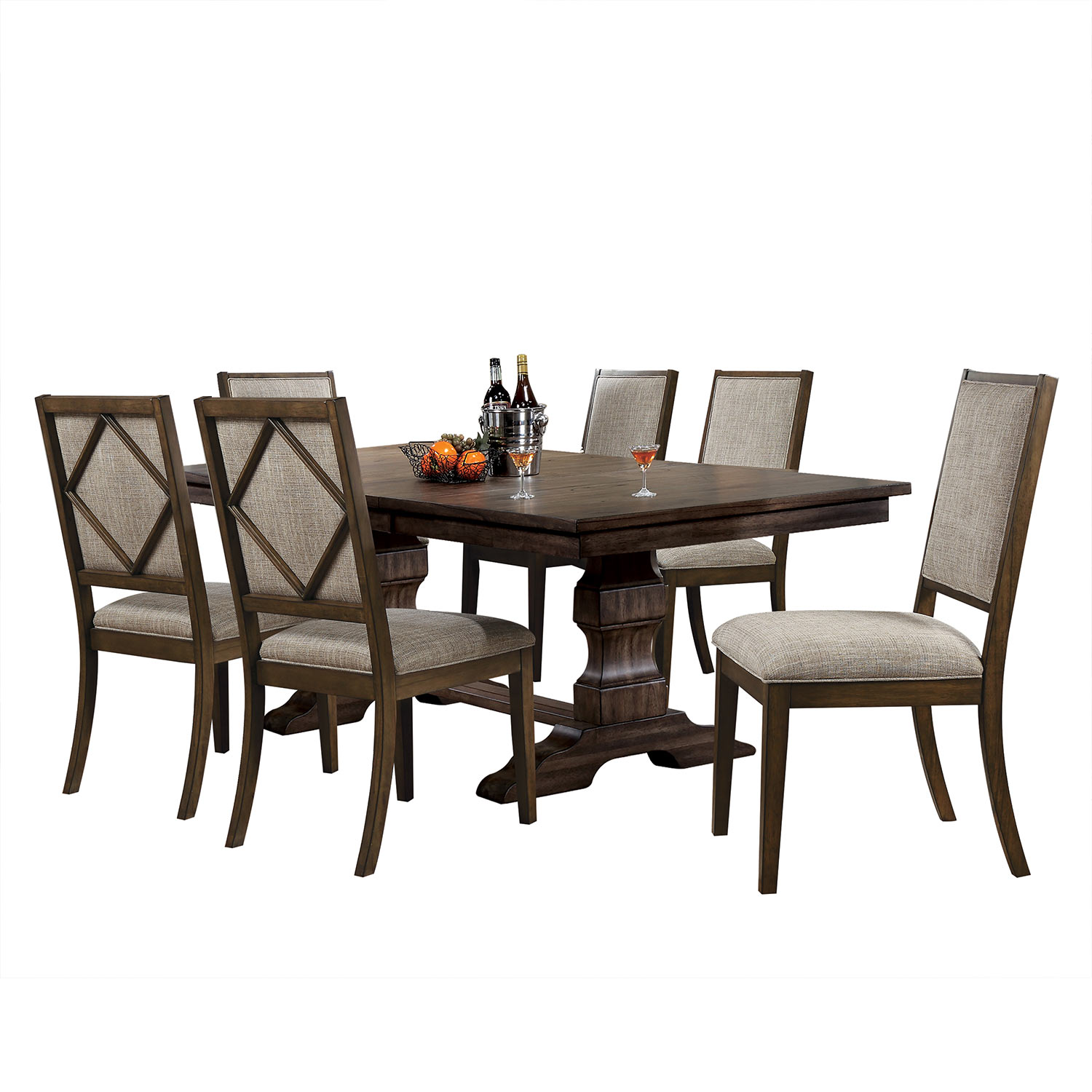 Acme Aurodoti Dining Set with Double Pedestal - Oak