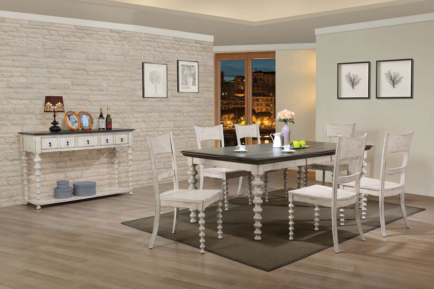 Acme Coyana Dining Set - Antique White/Gray