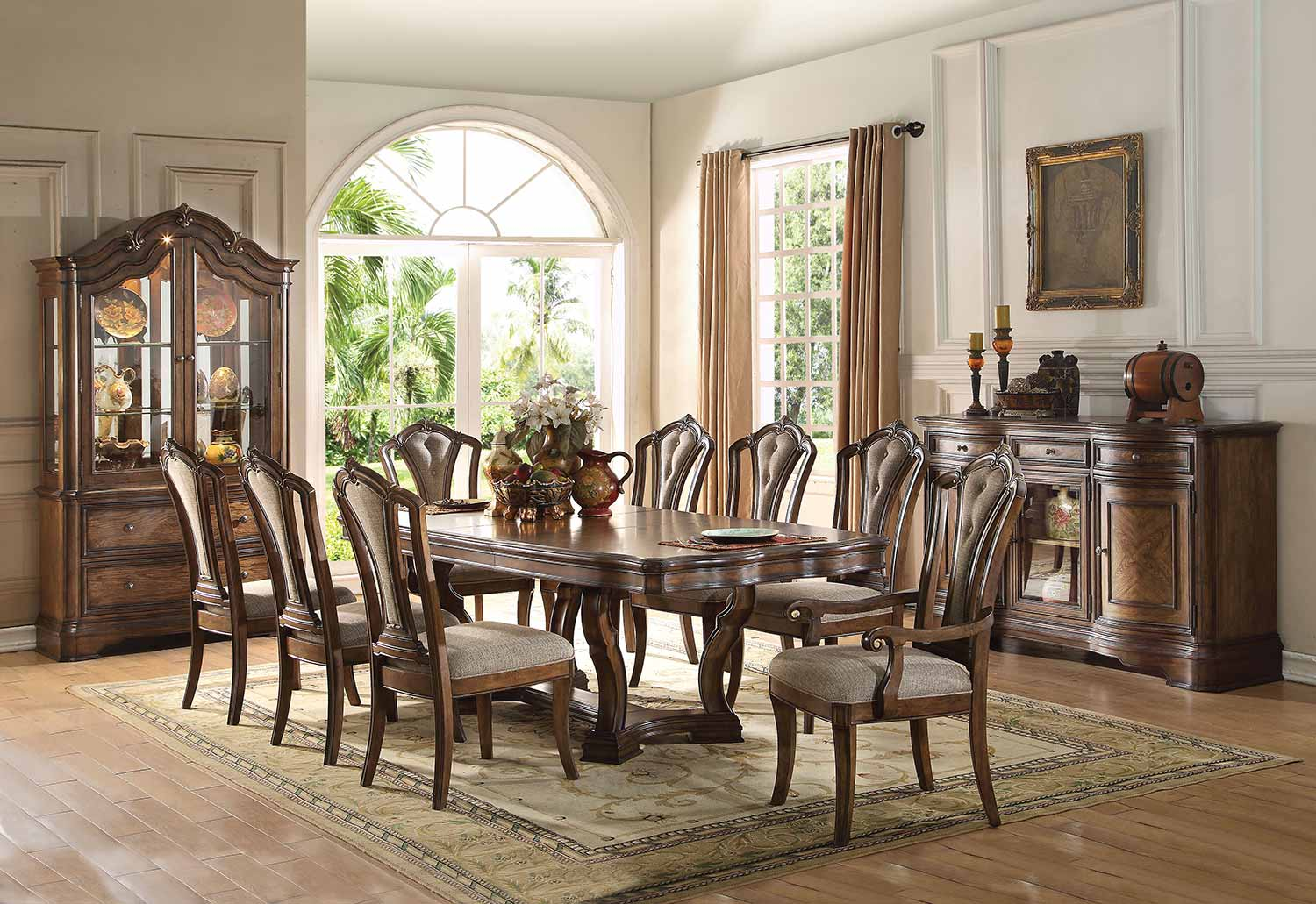 Acme Valletta Dining Set with Pedestal - Latte Oak