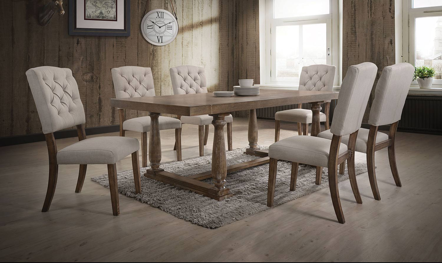 Acme Bernard Dining Set - Weathered Oak