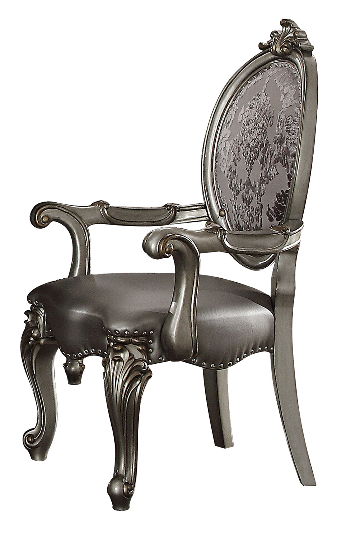 Acme Versailles Arm Chair - Silver Vinyl/Antique Platinum
