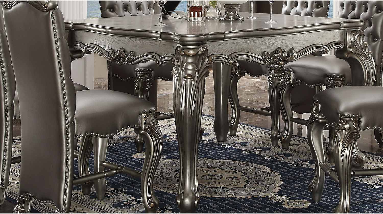 Acme Versailles Counter Height Table - Antique Platinum