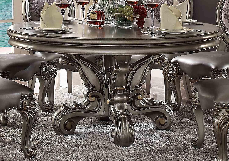 Acme Versailles Dining Table (Round Pedestal) - Antique Platinum