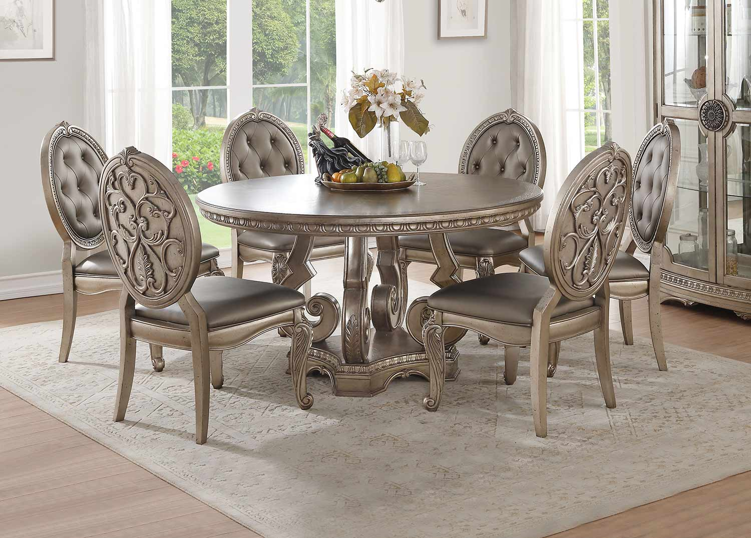 Acme Northville Round Dining Set with Single Pedestal - Antique Champagne