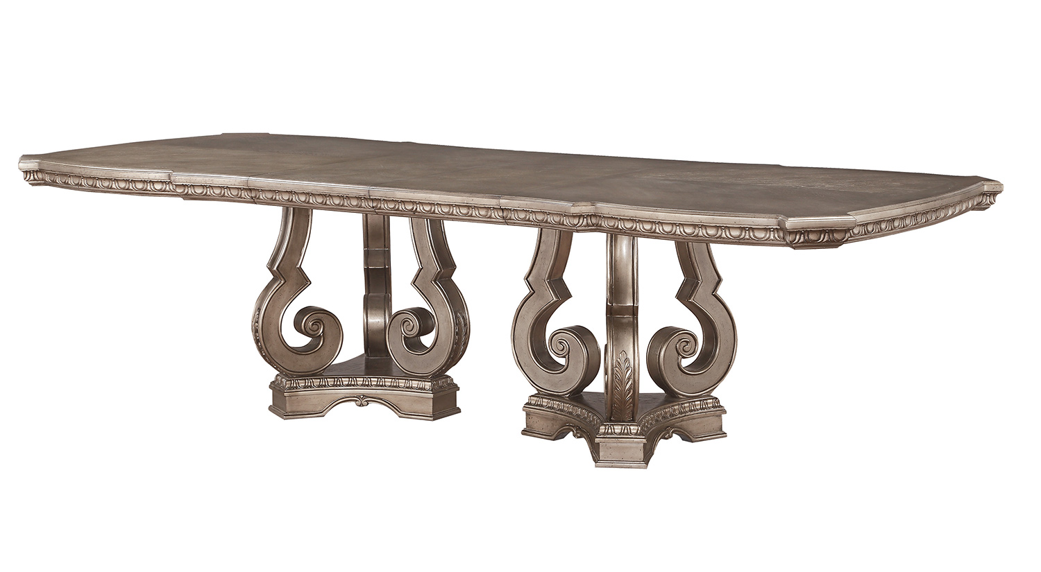 Acme Northville Dining Table with Double Pedestal - Antique Champagne