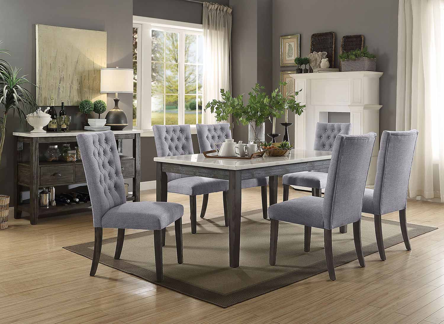 Acme Merel Dining Set - White Marble/Gray Oak